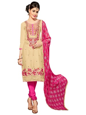 women pure cotton beige embroidered salwar kameez suit with dupatta