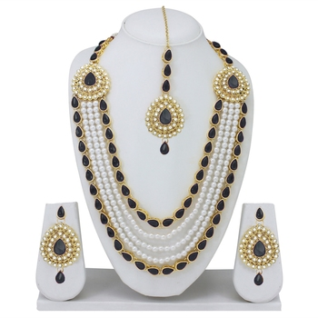 Designer Traditional Black Stone Long Necklace Set With Maang Tikka
