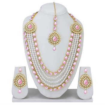 Designer Traditional Pink Stone Long Necklace Set With Maang Tikka