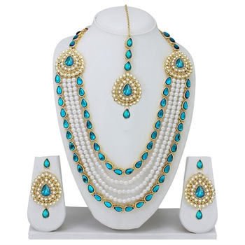 Designer Traditional Firozi Stone Long Necklace Set With Maang Tikka