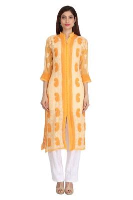 Yellow Embroidered Georgette Chikankari Kurti