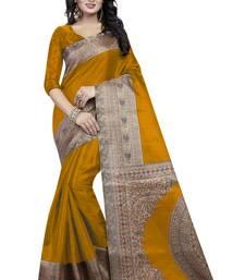 Buy Mustard printed art silk saree with blouse kalamkari-saree online