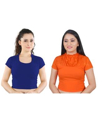 multicolor plain lycra cotton stitched blouse