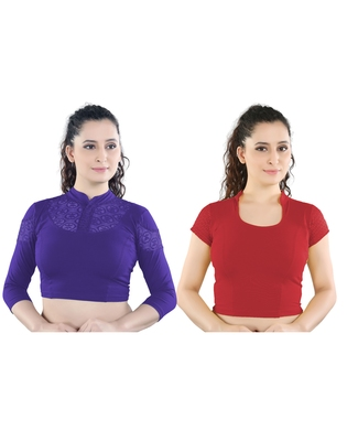 multicolor plain lycra cotton stitched blouse