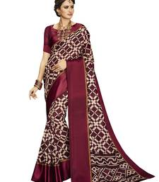 Buy Maroon printed silk cotton saree with blouse kota-silk-saree online