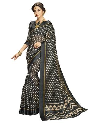 Black printed silk cotton saree with blouse