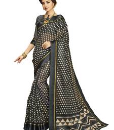 Black printed silk cotton saree with blouse