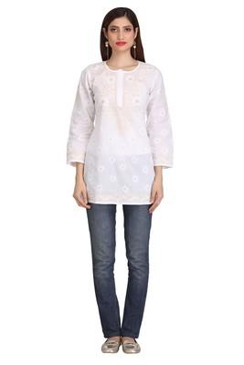 Ada White Embroidered chikankari cotton short-kurtis