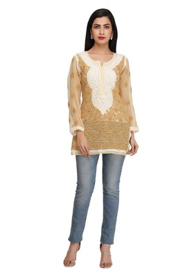 Ada Beige Embroidered Chikankari Georgette Short Kurti