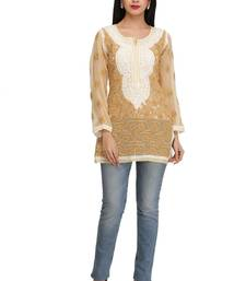 Ada Beige Embroidered chikankari georgette short-kurtis