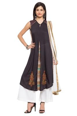 Black Embroidered Cotton Salwar With Dupatta