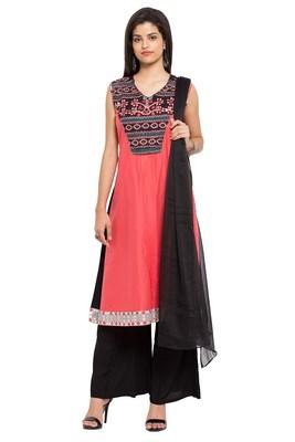 Light Pink Printed Cotton Salwar With Dupatta