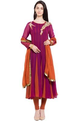 Maroon Embroidered Georgette Salwar With Dupatta