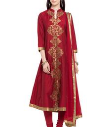 Buy Maroon embroidered cotton salwar with dupatta readymade-suit online