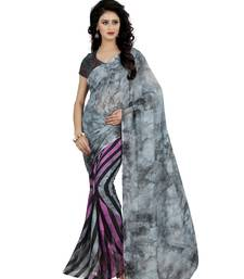 Buy Multicolor printed faux georgette saree with blouse faux-saree online