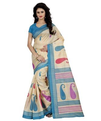 d0dc7fb776 Light blue printed faux bhagalpuri silk saree with blouse - Wama Fashion -  2415502