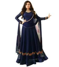 Buy Blue embroidered faux georgette salwar with dupatta anarkali-salwar-kameez online
