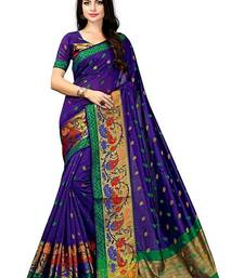 Royal blue woven poly cotton saree with blouse