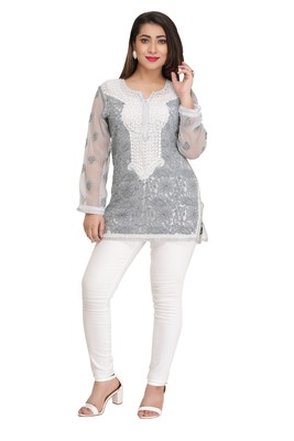 Ada Grey Embroidered Georgette Chikankari Short Kurti
