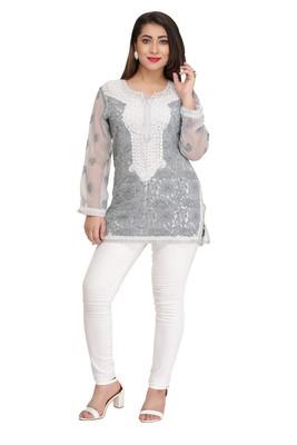 Ada Grey embroidered georgette chikankari short-kurtis