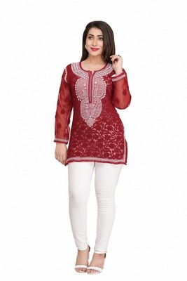 Ada Red embroidered georgette chikankari short-kurtis