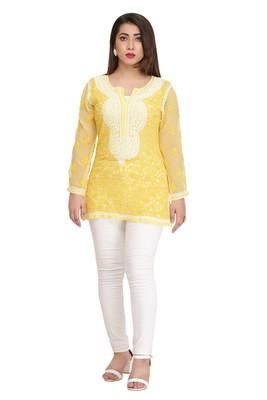 Ada Yellow Embroidered Georgette Chikankari Short Kurti