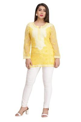 Ada Mustard Embroidered Georgette Chikankari Short Kurti