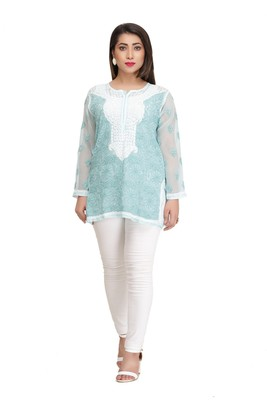 Ada White Embroidered Cotton Chikankari Short Kurti