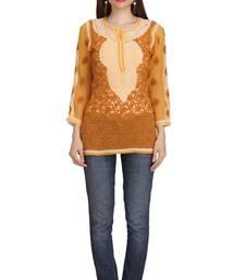 Ada Mustard Embroidered Faux Georgette Chikankari Short Kurti