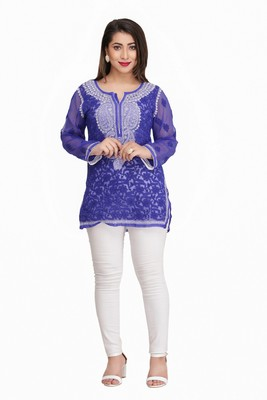 Ada Royal Blue embroidered faux georgette chikankari-Short kurtis