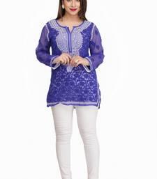 Ada Royal Blue embroidered faux georgette chikankari-Short kurtis