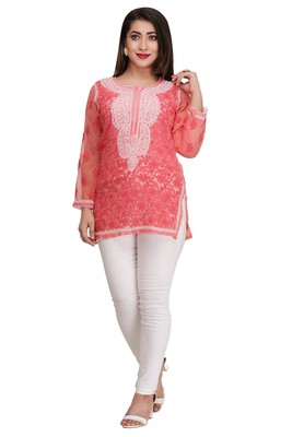 Pink embroidered georgette short-kurtis
