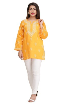 Mustard Embroidered Cotton Short Kurti