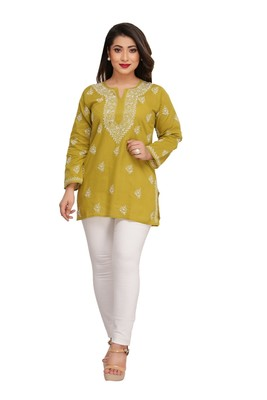Green Embroidered Cotton Short Kurti