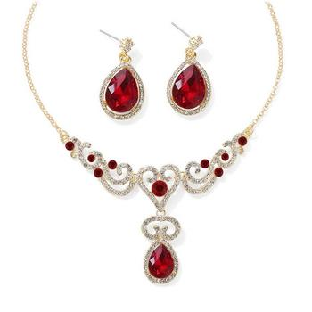 Red crystal necklace-sets