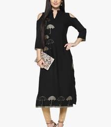 black faux_crepe crepe stitched kurti