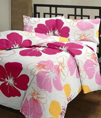 eCraftIndia Pink Flowers  Single Bed Reversible AC Blanket