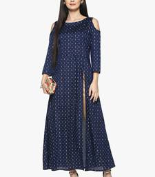 blue raw_silk polyester stitched kurti