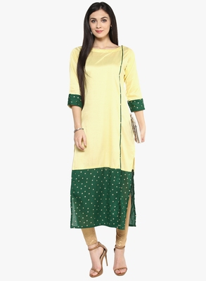yellow raw_silk polyester stitched kurti