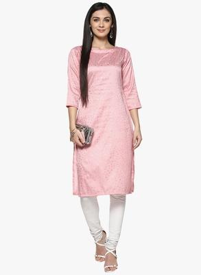 pink raw_silk polyester stitched kurti