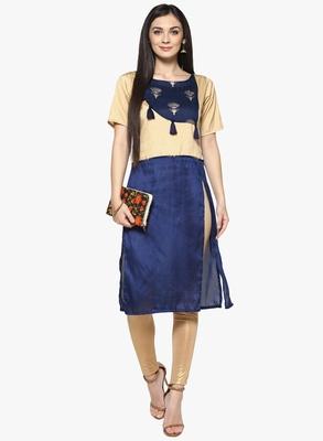 blue raw_silk polyester stitched kurti