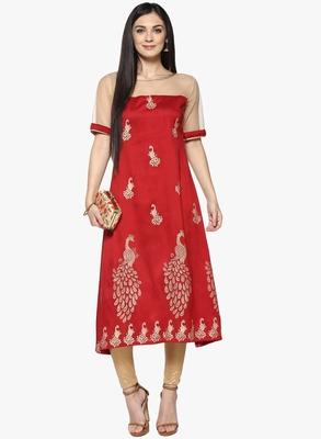 red raw_silk polyester stitched kurti