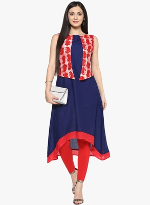 blue floral_print cotton stitched kurti