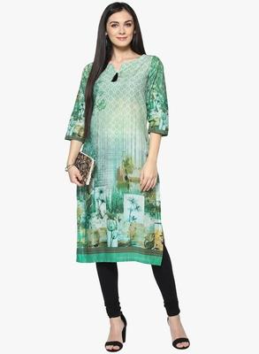 multicolor floral_print cotton stitched kurti