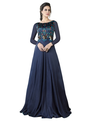 Navy Blue Embroidered Satin Semi stitched Gown