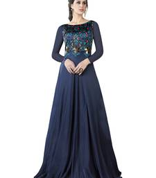 Buy Navy Blue Embroidered Satin Semi stitched Gown party-wear-gown online