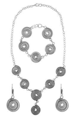 Oxidised Tribal Bohemian German Silver Necklace Earring Bracelet Set For Girls Women