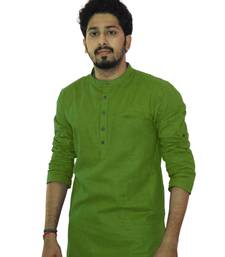 Buy Green cotton solids mens wear kurta men-kurta online