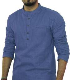 Buy Lavender cotton solids mens wear kurta men-kurta online