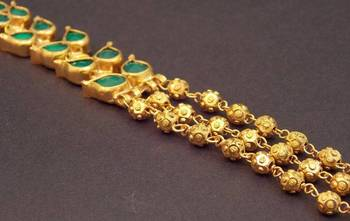 Emerald Gold Plated Long Chain